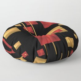 Red and Gold Foil Blocks Floor Pillow