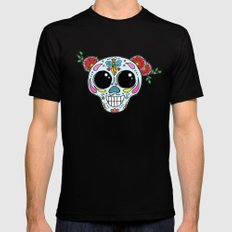 Sugar skull with flowers and bee Mens Fitted Tee MEDIUM Black