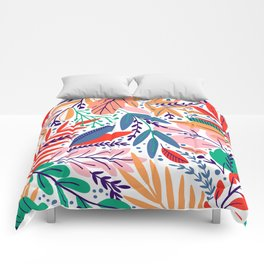 Modern abstract coral forest green floral illustration Comforters