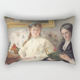 The Mother and Sister of the Artist - Marie-Joséphine & Edma by Berthe Morisot Rectangular Pillow
