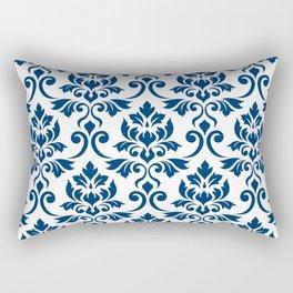 Feuille Damask Pattern Dark Blue on White Rectangular Pillow