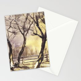Barn fine art watercolor painting, sunset watercolor landscape artwork, watercolor giclee sunset lan Stationery Cards