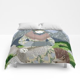 Lady with an owl and a dog Comforters