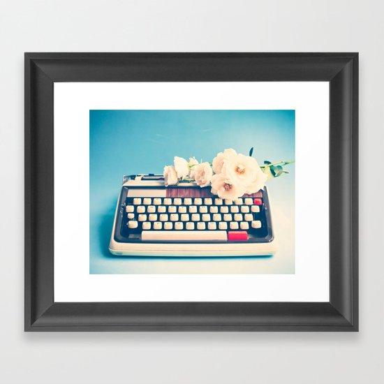 White Typewriter on Blue Framed Art Print