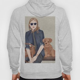 Lady In A Blue Blazer With A Puppy Hoody