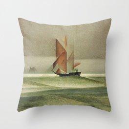 Ostsee-Schoner Nautical - Maritime landscape painting by Lyonel Feininger Throw Pillow