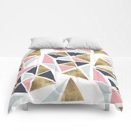 Modern geometrical pink navy blue gold triangles pattern Comforters
