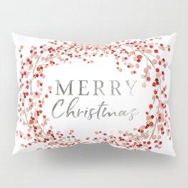 Merry Christmas wreath. Red berry Pillow Sham