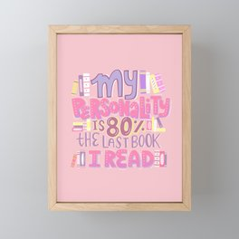Book Nerd Personality Retro Pink Framed Mini Art Print