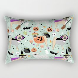 Pug halloween costumes mummy witch vampire pug dog breed pattern by pet friendly Rectangular Pillow