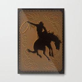 Leather Rodeo Cowboy Metal Print
