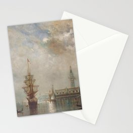 'Venice at Daybreak' landscape painting by Gilbert Munger Stationery Cards