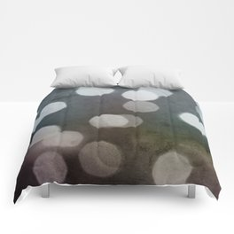 Charcoal Gray and Cream Bokeh Dots Pattern Comforters