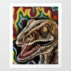 Rainbow Raptor:: Colorful Dinosaur Art Print