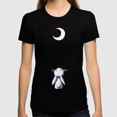 Moon Bunny Black MEDIUM Womens Fitted Tee