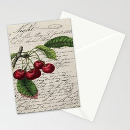 shabby elegance french country botanical illustration vintage red cherry Stationery Cards