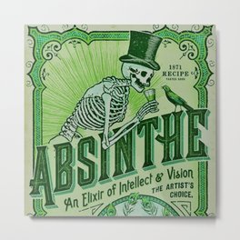 Vintage 1871 Absinthe Liquor Skeleton Elixir Aperitif Cocktail Alcohol Advertisement Poster Metal Print