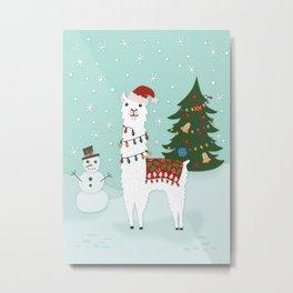 Santa Llama with Christmas Tree Metal Print