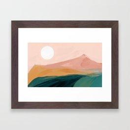 pink, green, gold moon watercolor mountains Framed Art Print