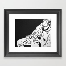Sheep Mask and Cat Framed Art Print