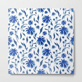 Elegant Indigo Blue Echinacea Cone Flowers Floral Pattern Metal Print