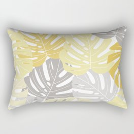 Yellow monstera deliciosa leaves Rectangular Pillow