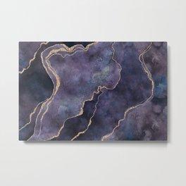 Purple Watercolor Marble Gemstone Glamour Metal Print