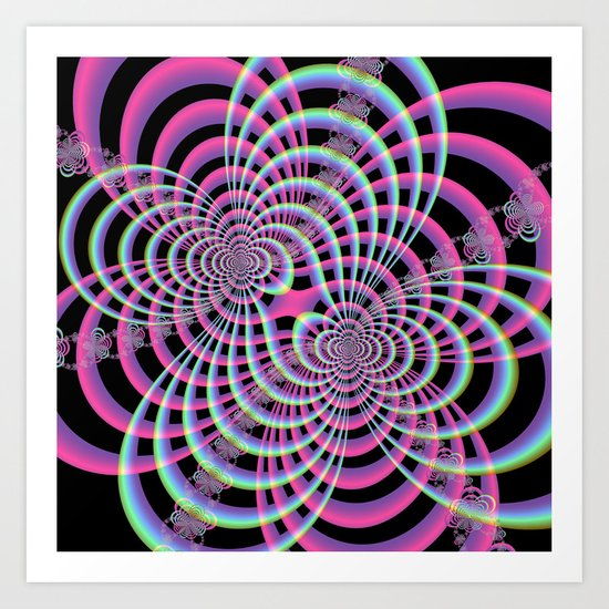 Lattice in Blue and Pink Art Print