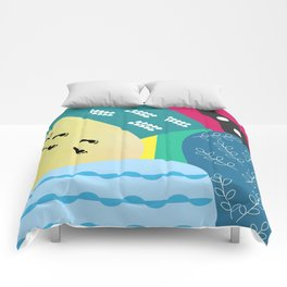 Abstract summer route Comforters