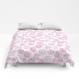 Donut Pattern | Pink, Purple Watercolor Comforters