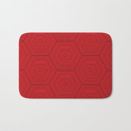 Red and Black Dimensional Hexagon Badematte