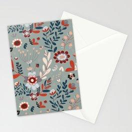 Deep Indigos & Gray Garden Hearts Stationery Cards