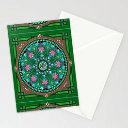 Boho Floral Crest Green Stationery Cards