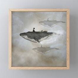 Awesome whale with women flying in the sky Framed Mini Art Print