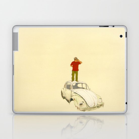 man listening the universe Laptop & iPad Skin