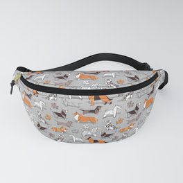 Origami doggie friends // grey linen texture background Fanny Pack