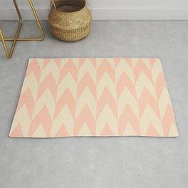 Vintage Pink Uneven Chevron Pattern Rug