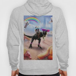 Pug Riding Dinosaur With Chicken Nuggets And Cola Hoody