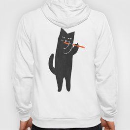 Black cat with flute Hoody