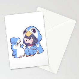 Girl Penguin costume North Pole South Pole Stationery Cards