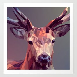 Colorful Polygons Abstract Deer Art Print