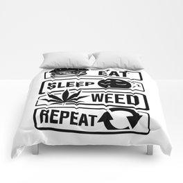 Eat Sleep Weed Repeat - Cannabis Mary Jane THC CBD Comforters