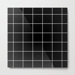 White Grid - Black BG Metal Print