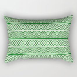 Green and White Classic Nordic Christmas Pattern Rectangular Pillow