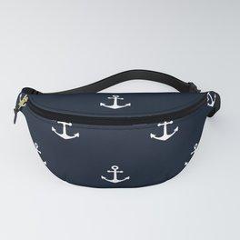 Dark Blue Anchor Pattern Fanny Pack