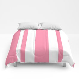Mixed Vertical Stripes - White and Flamingo Pink Comforters