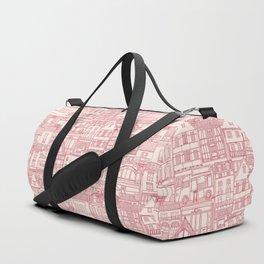 cafe buildings pink Duffle Bag