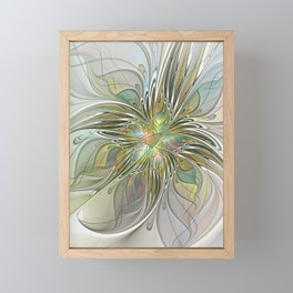 Floral Fantasy, Abstract Fractal Art Framed Mini Art Print