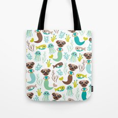 Quirky pugs and mermaids under water world Tote Bag