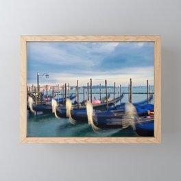 Dreaming  Gondolas of Venice Vivid Colors Photography Framed Mini Art Print